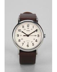Timex - Leather Strap Weekender Watch - Lyst