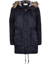 River Island Navy Faux Fur Trim Parka Jacket - Lyst