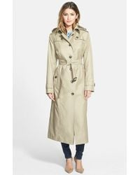 London Fog Hooded Long Single-Breasted Trench Coat - Lyst