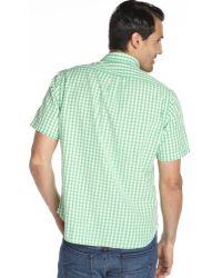 Tailor Vintage - Fern Green Gingham Cotton Short Sleeve Shirt - Lyst