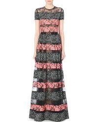 Elie Saab Floral Lace-Panel Gown - Lyst