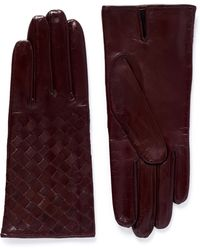 Maison Fabre 'Tresse' Basketweave Lamb Leather Gloves red - Lyst