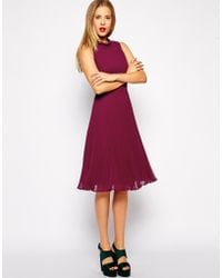 Asos Midi Dress With Pleated Skirt And High Neck - Lyst