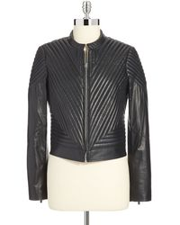 Vince Camuto Quilted Leather Moto Jacket - Lyst