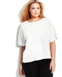Calvin Klein Plus Size Grommet-Embellished Short-Sleeve Top - Lyst