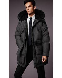 Burberry Down-Filled Parka With Shearling And Fur Trim - Lyst