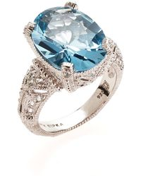 Judith Ripka Blue Topaz & White Sapphire Estate Oval Sterling Silver Ring Size 7 silver - Lyst