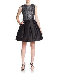 Monique Lhuillier Sequined A-Line Dress - Lyst