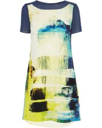 Karen Millen Art Print Silk Dress multicolor - Lyst
