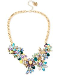 Betsey Johnson | Gold-tone Multi-stone Flower Statement Necklace | Lyst
