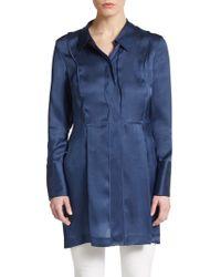 Donna Karan New York Silk Organza Tunic Blouse blue - Lyst