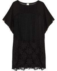 Pinko - Black Macramé Lace And Georgette Dress - Lyst