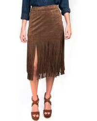 JOA Suede Fringe Skirt brown - Lyst