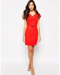 Oasis Cowl Neck Belted Dress - Lyst