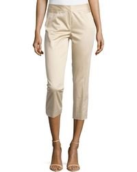 Lafayette 148 New York Polished Cotton Cropped Pants - Lyst