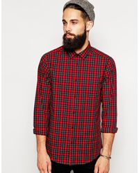 Asos Smart Shirt in Long Sleeve with Plaid Check - Lyst