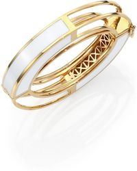 Eddie Borgo Enamel Circle Frame Bangle Bracelet - Lyst