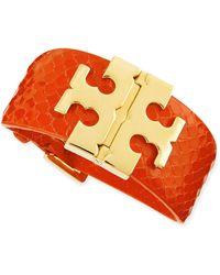Tory Burch Wide Snake-embossed T-hinged Bracelet - Lyst