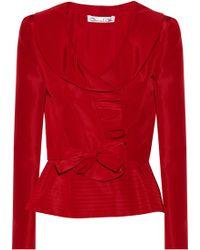 Oscar de la Renta Ruffled Silk-Faille Jacket - Lyst