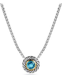 David Yurman Color Classics Pendant with Blue Topaz and Gold On Chain - Lyst