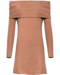 Pixie Market | Brown Off The Shoulder Knit Dress | Lyst