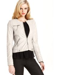 Guess Jacket Quilted Fauxleather Motorcycle - Lyst