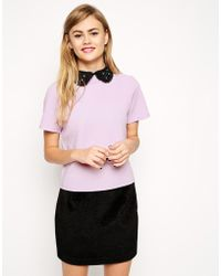 Asos Textured T-Shirt With Embellished Collar - Lyst