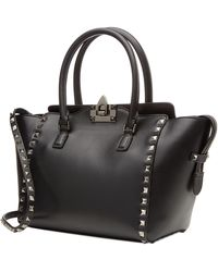 Valentino Small Rockstud Noir Leather Tote - Lyst
