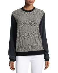 Nicole Miller - Geometric-stripe Sweater - Lyst