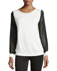 Haute Hippie Silk Chiffon-Detail Sweatshirt - Lyst