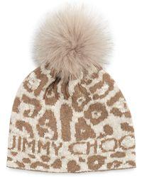 Jimmy Choo - Woven Knit Cap W Fur Pom-pom - Lyst