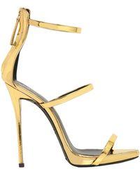 Giuseppe Zanotti 120Mm Metallic Leather Sandals - Lyst