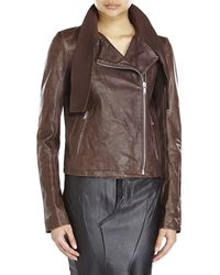 Damir Doma Leather Scarf Jacket brown - Lyst
