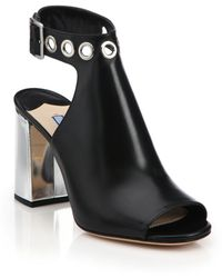Prada | Grommeted Leather Ankle-strap Sandals | Lyst