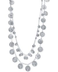 Guess Silver-tone Two Row Coin Charms Statement Necklace - Lyst