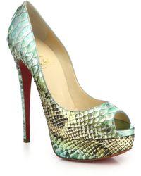 Christian Louboutin Lady Peep Python Peep-Toe Pumps green - Lyst