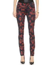 7 For All Mankind Rose Print Jeans - Rouge Roses Print - Lyst