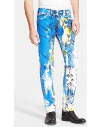Just Cavalli Paint Splatter Print Straight Leg Jeans - Lyst