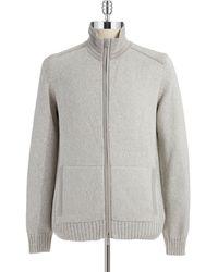 Calvin Klein Marled Knit Zip-front Sweater - Lyst