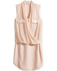 H&M Beige Draped Dress - Lyst