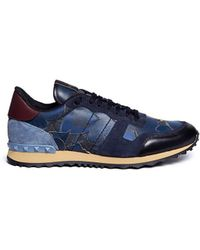 Valentino 'Night Camubutterfly' Low Top Sneakers blue - Lyst
