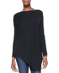 Alice + Olivia Alice  Olivia Boatneck Asymmetric Knit Sweater Charcoal Xsmall - Lyst