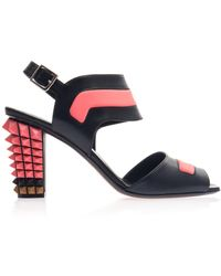 Fendi Polifina Studded Heel Sandals - Lyst