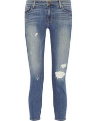 J Brand 835 Cropped Mid-Rise Distressed Skinny Jeans - Lyst