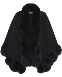 Harrods Of London Short Spiral Fox Fur Trimmed Cape - Lyst