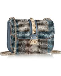 Valentino Glam Lock Small Embellished Leather Shoulder Bag - Lyst