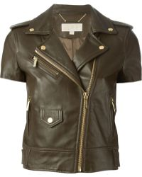 MICHAEL Michael Kors Short Sleeve Biker Jacket - Lyst