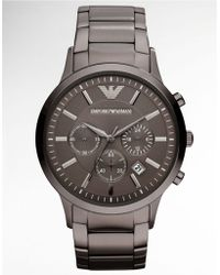 Armani - Mens Gunmetal Chronograph Watch - Lyst