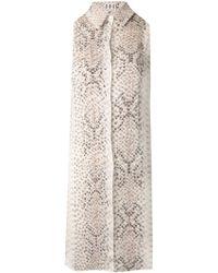 Haute Hippie Beaded Front Python Print Sleeveless Silk Button Down Tunic - Lyst