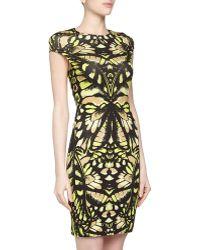 McQ by Alexander McQueen Floralprint Stretch Dress Yellowbeige - Lyst